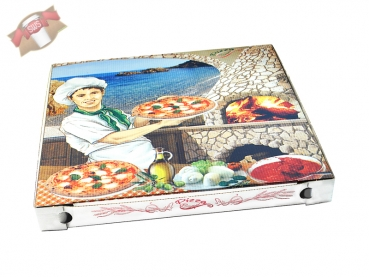 Pizzakarton Pizzabäcker 40x40x4 cm Pizzaschachtel Pizzabox (100 Stk.)