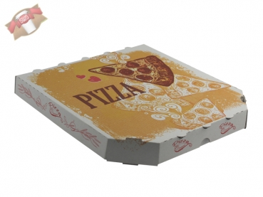 Pizzakarton Pizza Karton Pizzabox to go 26x26x3 cm Pizzakarton Motivdruck (100 Stk.)