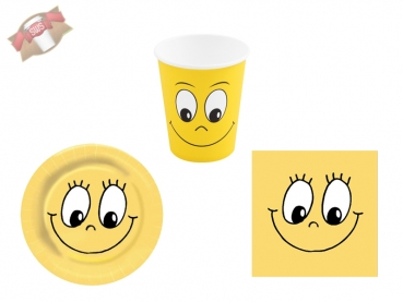 Party Set Pappteller Partyteller SMILING FACE Servietten Trinkbecher (20 Stk.)