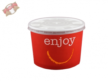 Foodcontainer Papiercontainer mit Deckel 300 ml rot (50 Stk.)