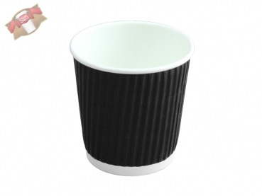 Doppelwand Kaffeebecher Coffee to go Becher 100ml schwarz geriffelt (25 Stk.)
