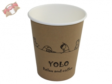 "Coffee to go Becher ""Cafe Yolo"" 200 ml glatt (100 Stk.)"