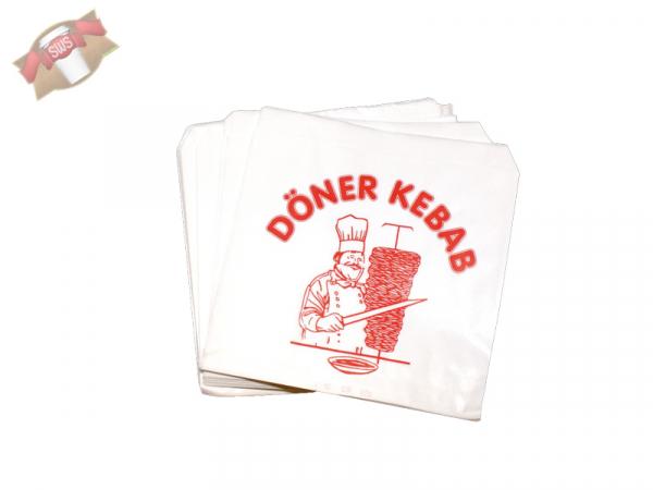 1000 Döner-Kebab-Tüten Pergament-Ersatz 16 cm x 16 cm weiss fettdicht Döner-Tüte